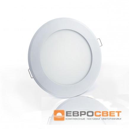 Светодиодный светильник LED-R-120-6 6Вт 4200К круг встраиваемый Евросвет