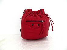 Женская сумочка - мешок  через плече Эко-кожа.  Красная