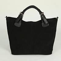 Замшевая вместительная фигурная сумка трапеция