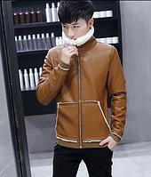 Мужская стильная зимняя дубленка с воротником. Модель 925