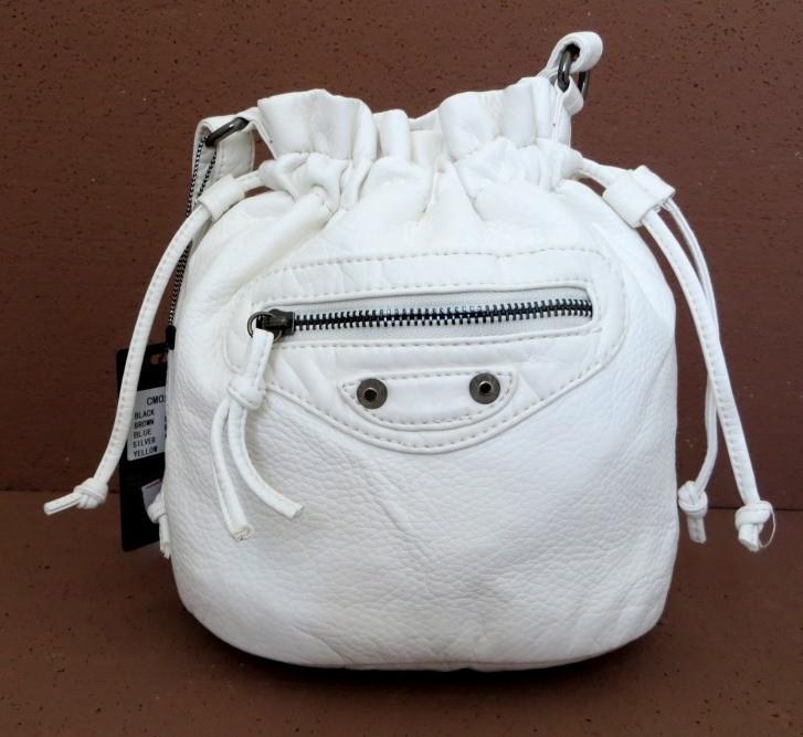 Женская сумочка - мешок  через плече Эко-кожа. Белый