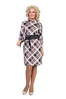 Платье в клетку с широким поясом