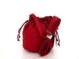 Женская сумочка - мешок  через плече Эко-кожа.  Красная, фото 2