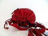Женская сумочка - мешок  через плече Эко-кожа.  Красная, фото 4