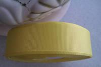 Лента репсовая 2,5 см жёлтая (лимонная)