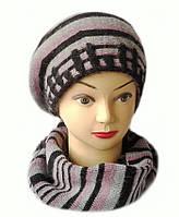 Комплект женский вязаный берет и шарф Polina шерсть с ангорой цвет ягодный