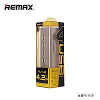 Зарядное Устройство Сетевое (USB/Розетка) Remax Hub Gold House RU-U2 4.2A 4*USB Gold-Black Для Смартфонов/План