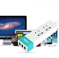 Зарядное Устройство Сетевое (USB/Розетка) Remax Hub Ming Series 2*Plug 3*USB Pink Евровилка