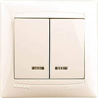 Выключатель LEMANSO Сакура  2-й + LED подсветка   крем