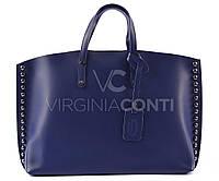 Синяя Кожаная сумка Италия Virginia Conti