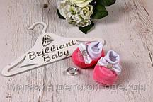 """Детские велюровые пинетки """"Bow"""" для новорожденных (розовый)"""