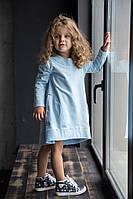 Голубое нежнейшее хлопковое платьице. 86, 98см, фото 1