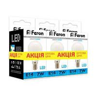 Комплект 3шт: Led лампа Feron 7W Е14 P45 LB-95 теплый свет