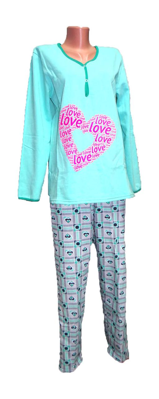 Теплая женская пижама (начес) р.40-56