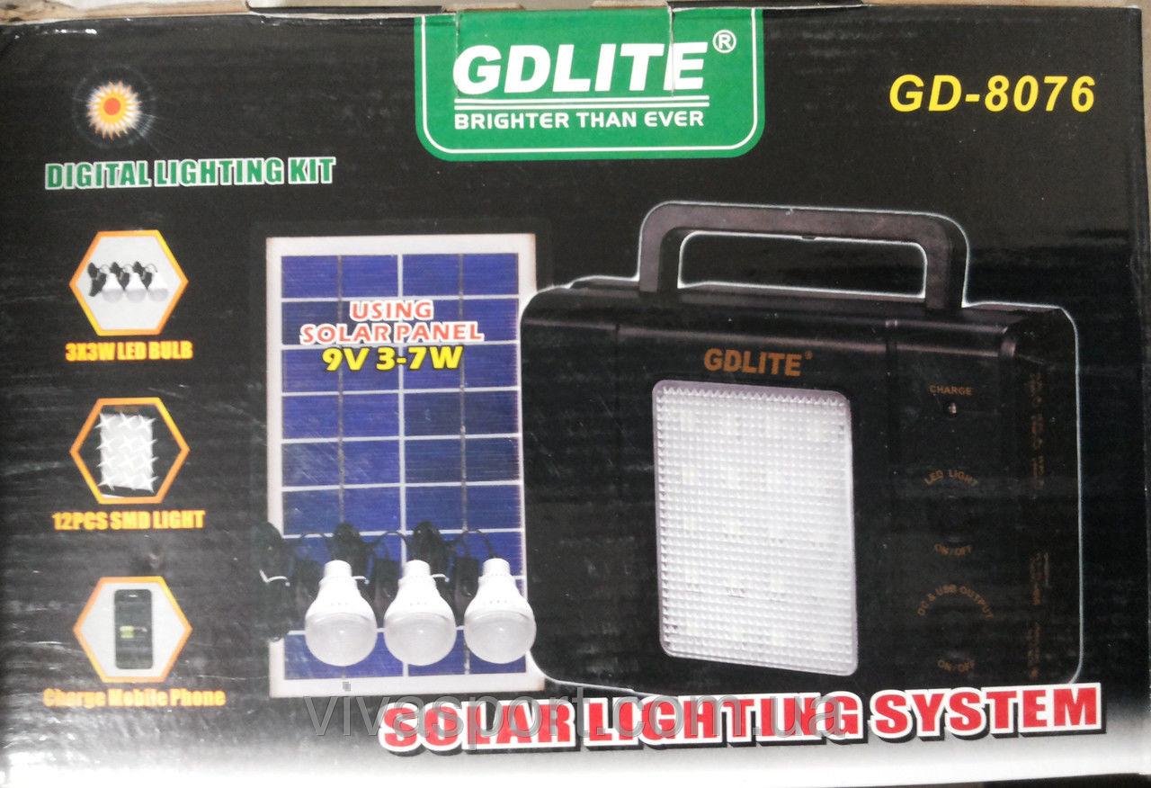 Портативный аккумулятор на солнечной панели GDLite GD-8076 - аварийный светильник GDLite