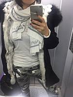 Женская  Парка - куртка удлиненная с енотовой опушкой Нэля
