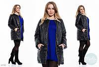 Стильная удлинённая куртка воротник шанель Батал чёрная