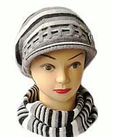 Комплект берет с козырьком(кепка) и шарф женский вязаный Полина шерсть натуральная цвет серый светлый