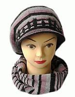 Комплект берет с козырьком(кепка) и шарф женский вязаный Полина шерсть натуральная цвет фрез