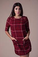 Женское платье в клеточку из шерсти