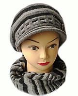Комплект берет с козырьком(кепка) и шарф женский вязаный Полина шерсть натуральная цвет серый темный