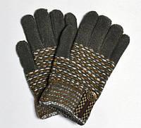 Перчатки зимние (мал) Шахматы, темно-зеленые 16-18 см. (6-9 лет)