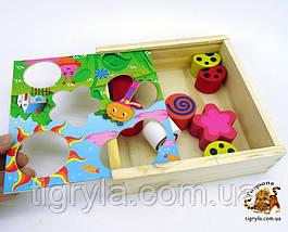 Деревянная игра логика сортер, рамка вкладыш с плоскими и объемными фигурами, фото 3