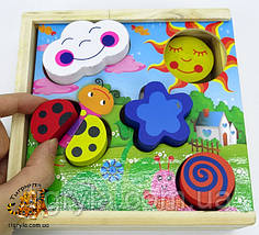 Деревянная игра логика сортер, рамка вкладыш с плоскими и объемными фигурами, фото 2