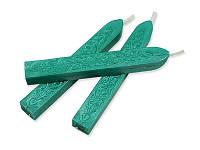 Сургуч с фитилем - Перламутровый бирюзовый, сечение прямоугольник 1,2x1 см, длина 9 см