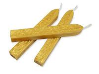 Сургуч с фитилем - Светлое золото металлик, сечение прямоугольник 1,2x1 см, длина 9 см