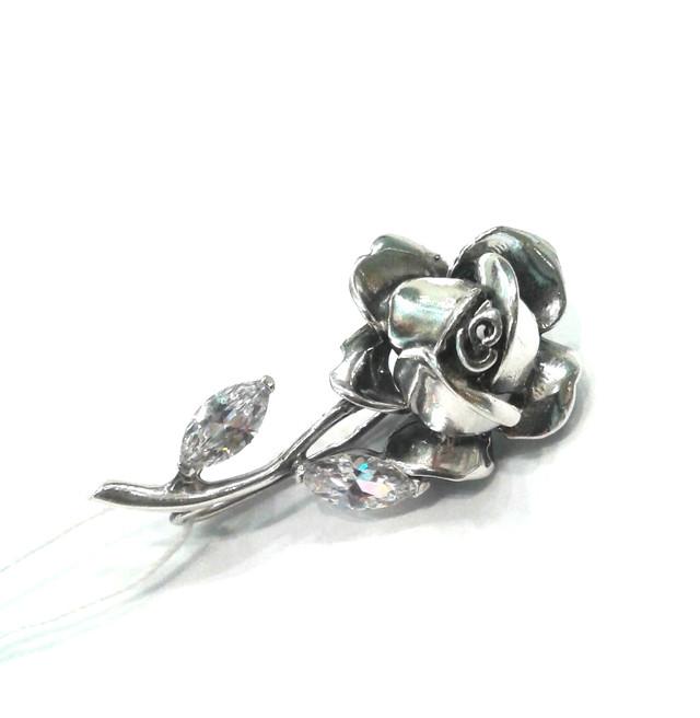 Серебряная брошь Роза