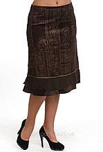 Спідниця коричнева по коліно трапеція вельвет жіноча (Ю 542371)