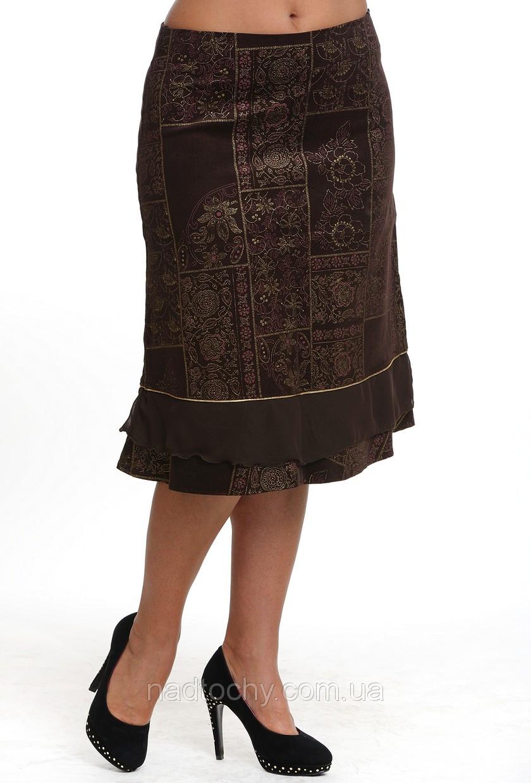 Юбка коричневая по колено трапеция вельвет  женская (Ю 542371)