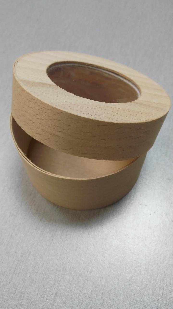Коробка дерево с окошком 4х7.5 см (код 05300)
