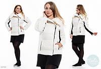 Стильная  куртка Батальная  короткая косуха белая