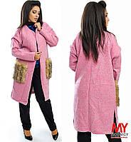 Женское батальное пальто