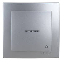 Выключатель кнопка с подсветкой Nilson Touran серебро