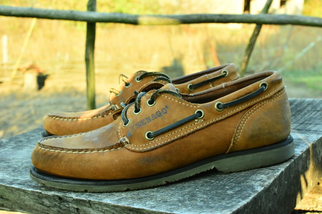 Мужские кожаные топсайдеры  Sebago, made in Dominican republik,  26.5 см, 41.5 размер. Код: 110.