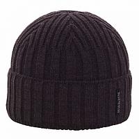 Мужская вязанная  шапка -флис  цвет  темно серый