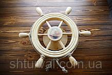 Штурвал на стену с корабликом и поворотным механизмом 50 см