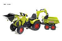 Трактор на педалях с 2 ковшами и прицепом Falk  Claas Axos