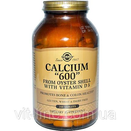 """Solgar, Кальций """"600"""" из раковин устриц, с витамином D3, 240 таблеток, фото 2"""