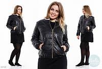Стильная куртка Батальная  короткая с жемчугом чёрная