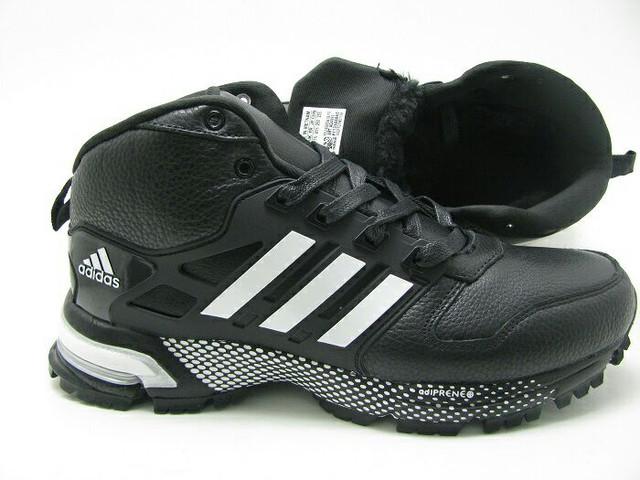 Кроссовки зимние мужские Adidas marathon winter черно-белые оригинал