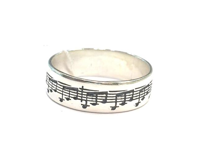 Серебряное кольцо с нотами Соната