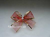 Новогодний красный бант из органзы с проволочным краем( размер банта14*10см)