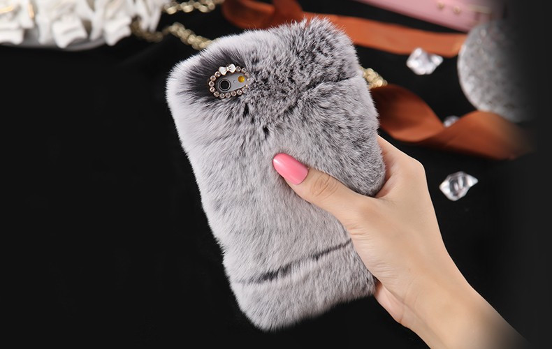100% Genuine Rabbit Fur Whith Glitter Diamond Cover Case Grey для iPhone 5/5s