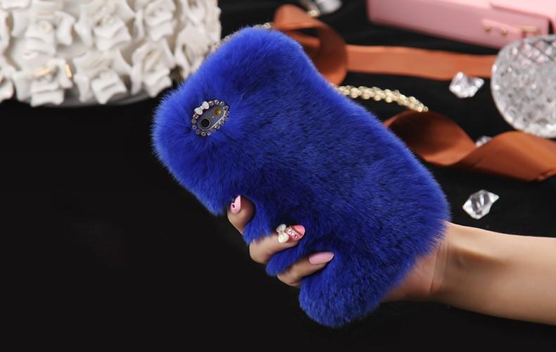 100% Genuine Rabbit Fur Whith Glitter Diamond Cover Case Blue для iPhone 5/5s