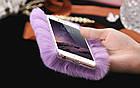 100% Genuine Rabbit Fur Whith Glitter Diamond Cover Case Purple для iPhone 5/5s, фото 5