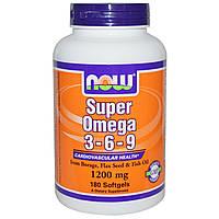 Супер Омега 3 - 6 - 9, Now Foods, 1200 мг., 180 капсул